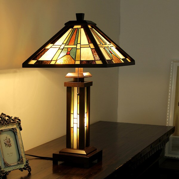 Chloe Tiffany Style Mission Design Double Lit 2+1-light Dark Walnut Table Lamp 24685344