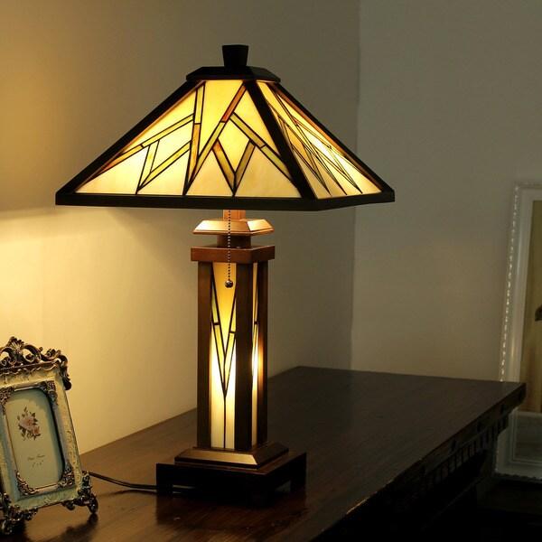 Chloe Tiffany Style Mission Design Double Lit 2+1-light Dark Walnut Table Lamp 24685346
