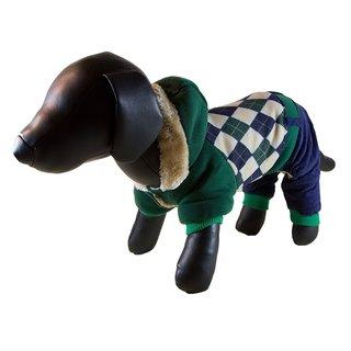 Petcessory Green/Blue/Argyle Cotton Warm 4-leg Dog Hoodie