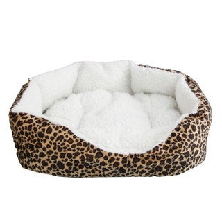 2-piece Small Pet Dog Cat Mat Lepard Print Soft Fleece Cotton Cozy Warm Bed House