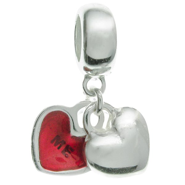 Queenberry Sterling Silver Valentine Love You & Me Forever Red Enamel Dangle European Bead Charm