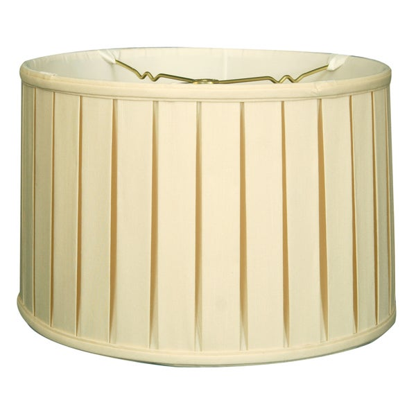 Royal Designs Shallow Drum English Box Pleat Basic Lamp Shade, Eggshell, 17 x 18 x 11.5, 6-way 24718479