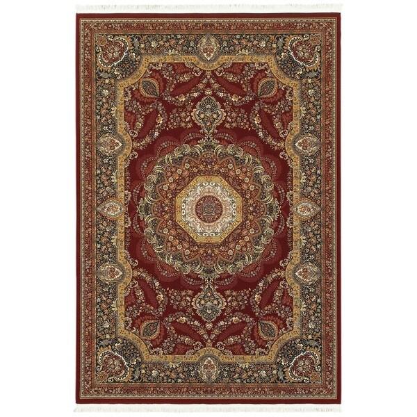 Style Haven Regal Center Medallion Red/Multi Fringe Area Rug (7'10 x 10'10) -  Oriental Weavers