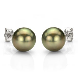 DaVonna 14k Gold Black Tahitian Cultured Pearl Stud Earrings (11-12 mm)