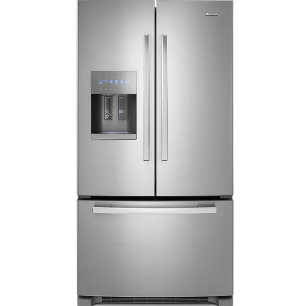 Amana AFI2539ERM 25 cu. ft. French Door Refrigerator with Fast Cool, Measured Fill, External Dispenser, Full-Width Pantry Drawer, 4 Adjustable Glass Shelves, 2 Crisper Drawers, 6 Door Bins and ADA Compliant: Stainless Steel AFI2539ERM