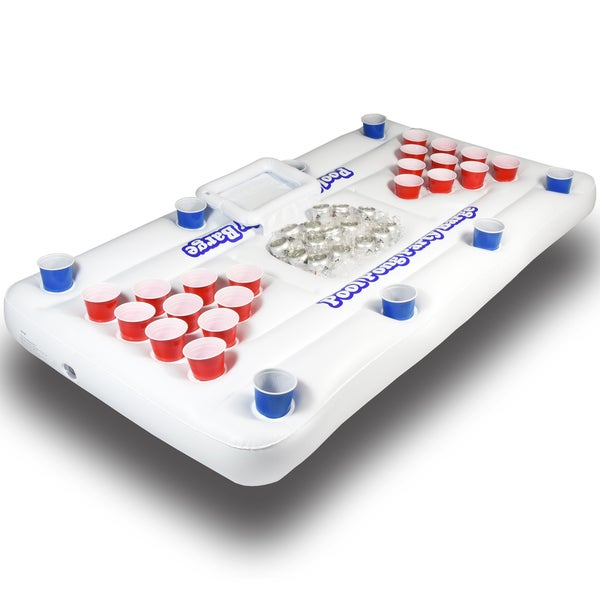 GoPong Pool Party Barge 6-foot White Floating Beer Pong Table with Cooler 24763758