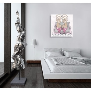Oliver Gal 'Girl Power Books Silver' Fashion and Glam Wall Art Canvas Print - Pink