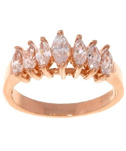 Icz Stonez Gold over Silver Clear Marquise-cut CZ Ring