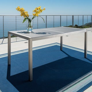 Cape Coral Outdoor Aluminum Dining Table with Tempered Glass Table Top by Christopher Knight Home