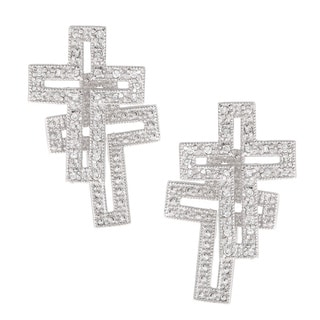 Icz Stonez Cubic Zirconia  Sterling Silver Cross Earring