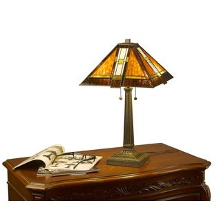 Tiffany-style Mission Aztec Table Lamp