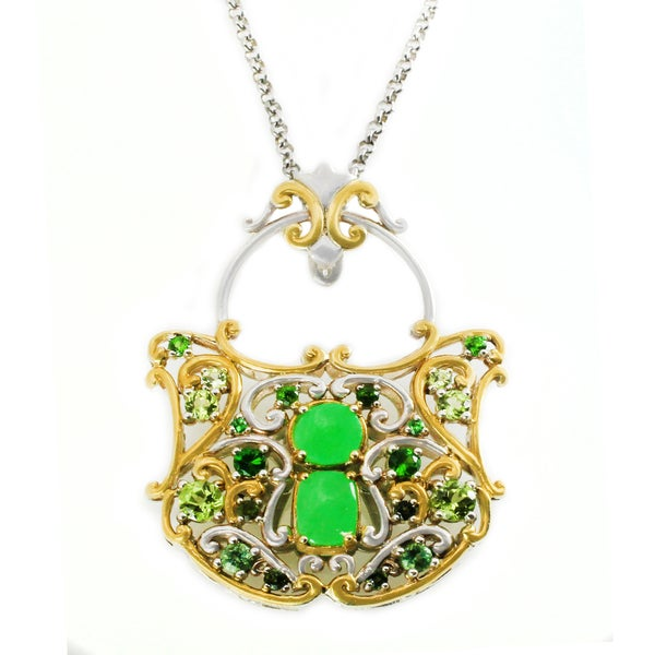 Michael Valitutti Palladium Silver Green Jade & Multi Gemstone Lock Pendant 24939574
