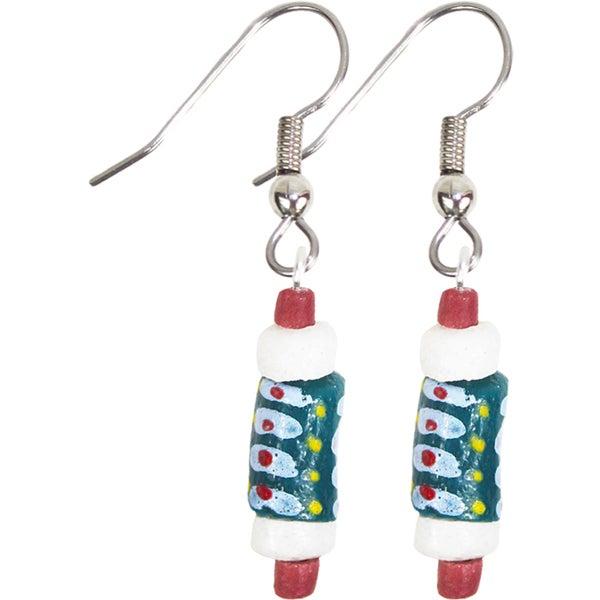 Handmade Recycled Glass Bead Earrings in Teal - Global Mamas (Ghana) 24946206