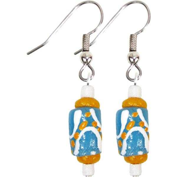Handmade Recycled Glass Bead Earrings in Light Blue - Global Mamas (Ghana) 24946209