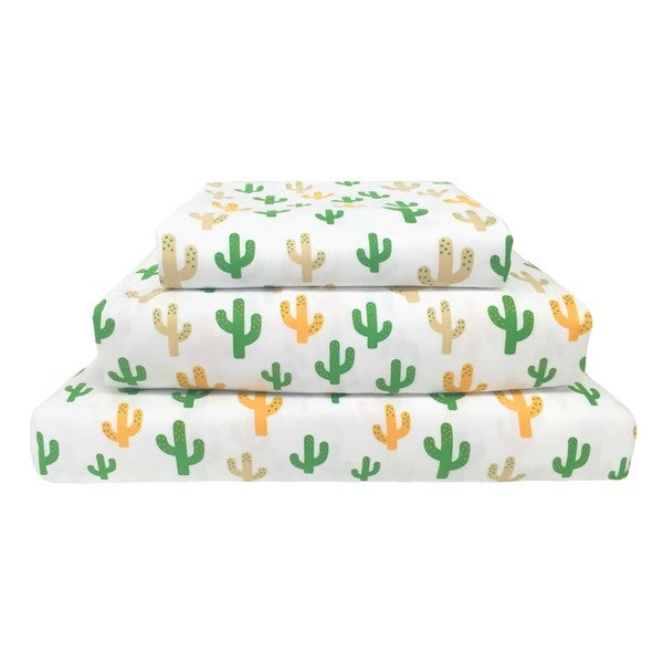 Wild West Cactus Print Polyester Sheet Set 24946391