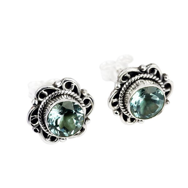 Handmade Sterling Silver Blue Topaz Earrings (India) 24946474