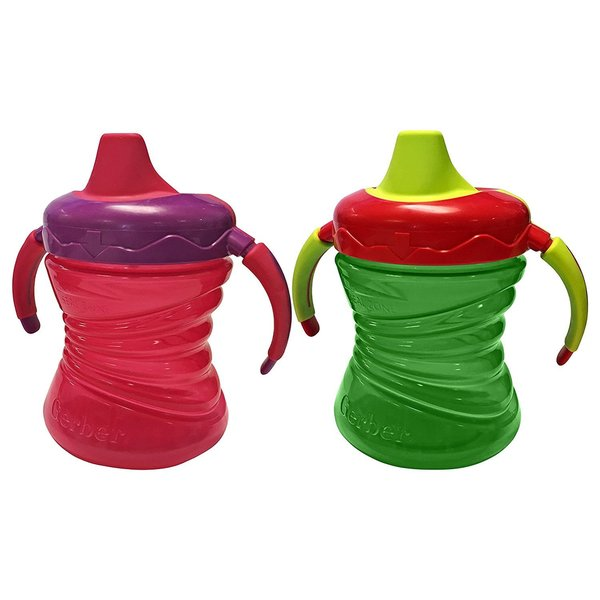 Nuk Gerber Graduates Pink/Green Fun Grips 7-ounce Trainer Cup (Set of 2) 24963235