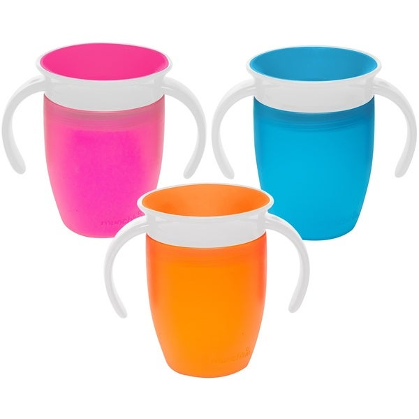 Munchkin Miracle Plastic 360-degree Spoutless 7-ounce Trainer Cups (Pack of 3) 24963971