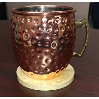 Hammered Goldtone Copper Moscow Mule Mug with Wooden Coaster (Set of 4)