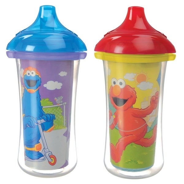 Munchkin Purple/Yellow Sesame Street 9-ounce Click Lock Insulated Sippy Cups (Set of 2) 24965818