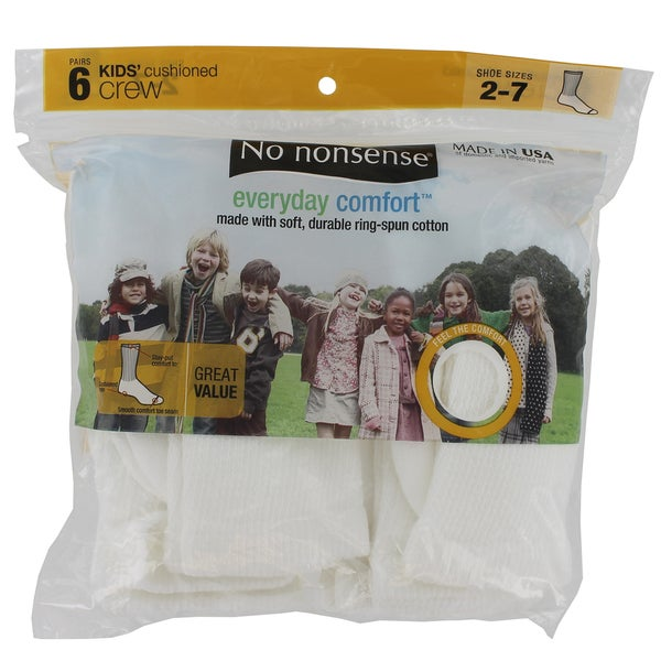No Nonsense ZV1UX6 White Kids Cushioned Crew Socks 6-count 24966443
