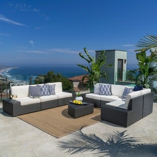 Santa Cruz Outdoor 8-piece Wicker Sectional Sofa Set with Cushions by Christopher Knight Home