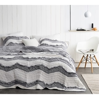 BYB Two Tone Jet Stream/Alloy Grey Relaxin' Chevron Ruffles Quilt Set