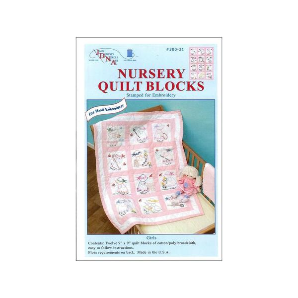 Jack Dempsey Nursery Quilt Blocks 12pc Girls 24977840