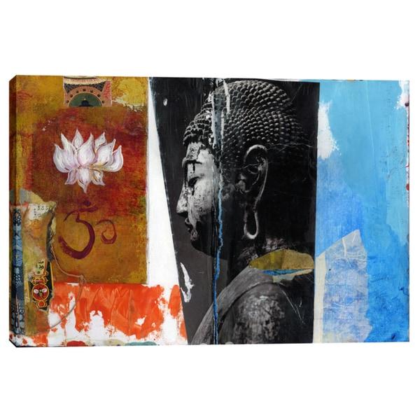 "Epic Graffiti ""Angel Buddha"" by Elena Ray Giclee Canvas Wall Art - Blue 24981019"