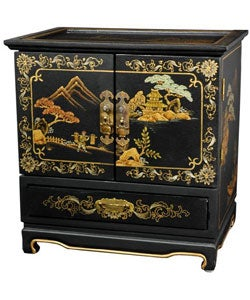 Empress Lacquered Black Crackle Jewel Box (China)
