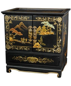 Empress Lacquered Black Crackle Jewel Box (China)