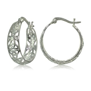 Mondevio Sterling Silver High Polished Celtic Knot Filigree Hoop Earrings