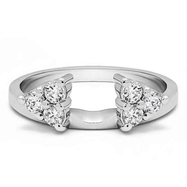 18k White Gold Three Stone Ring Wrap Enhancer With Diamonds (G-H,SI2-I1) (0.99 Cts., G-H, SI2-I1)