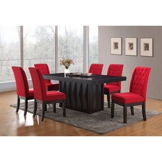 K and B Furniture Co Inc Kitchen Dinette Red Fabric Wood Legs Dining Chairs (Set Of 2)