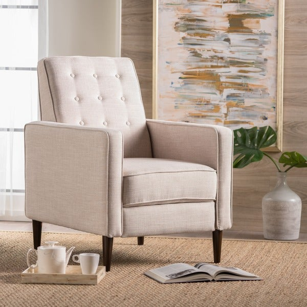 Mervynn Mid-Century Button Tufted Fabric Recliner Club Chair by Christopher Knight Home 25049686