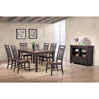 Kitchen Dinette Grey Brown Wood Slatback Dining Side Chairs (Set of 2)