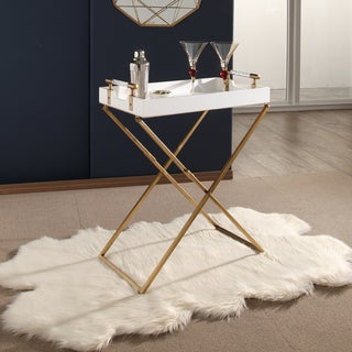 Abbyson Sophie White Iron Tray Table