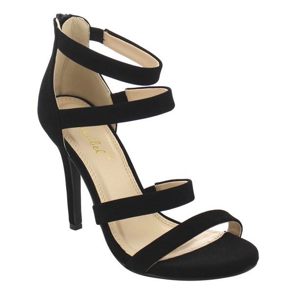 BONNIBEL FJ00 Women's Stiletto Heel Ankle Strap Back Zipper Dress Sandals 25148869