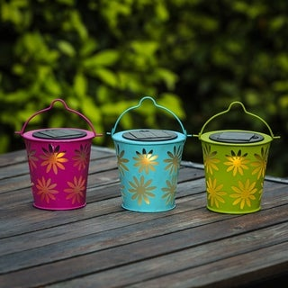 Set of 3 Solar Lights in Colorful Metal Table Lamps