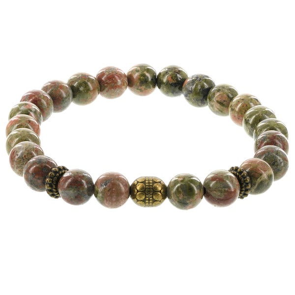 Fox and Baubles Men's Green Agate, Brushed Brass Bead and Brass Spacers Beaded Stretch Bracelet 25158132