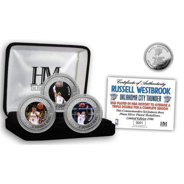 "Russell Westbrook ""2017 Triple Double Season"" Commemorative Silver 3-Coin Set 25160342"
