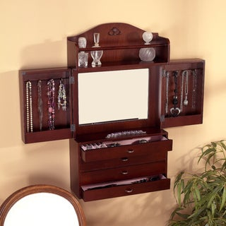 Brown Wall-mount Jewelry Armoire with Mirror (16.5' x 5.6' x 29')
