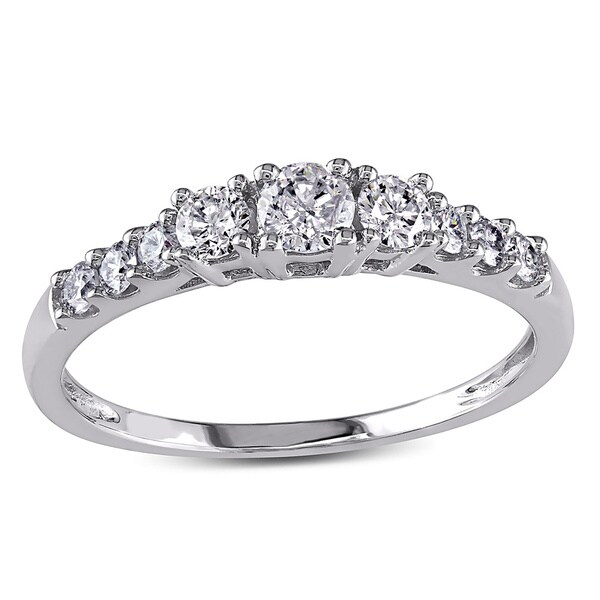 Miadora 14k White Gold 1/2ct TDW Round Diamond Engagement Ring (F-G, I1-I2)
