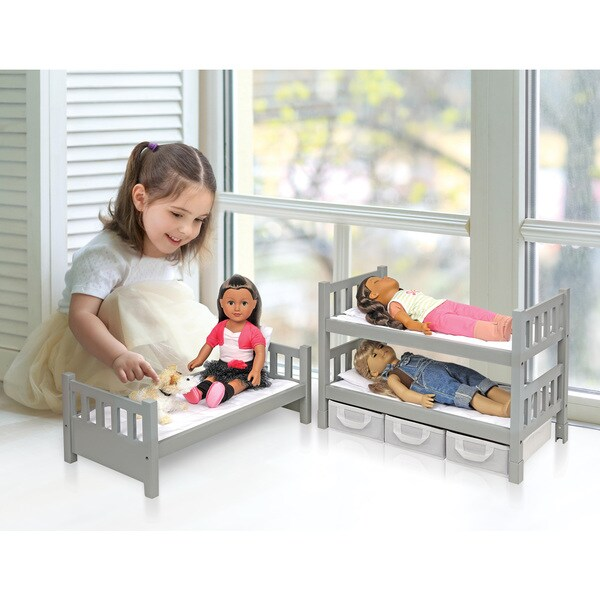 Badger Basket Executive Gray 1-2-3 Convertible Doll Bunk Bed with 3 Storage Baskets 25194917