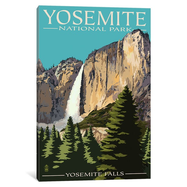 iCanvas 'U.S. National Park Service Series: Yosemite National Park (Yosemite Falls II)' by Lantern Press Canvas Print 25198390