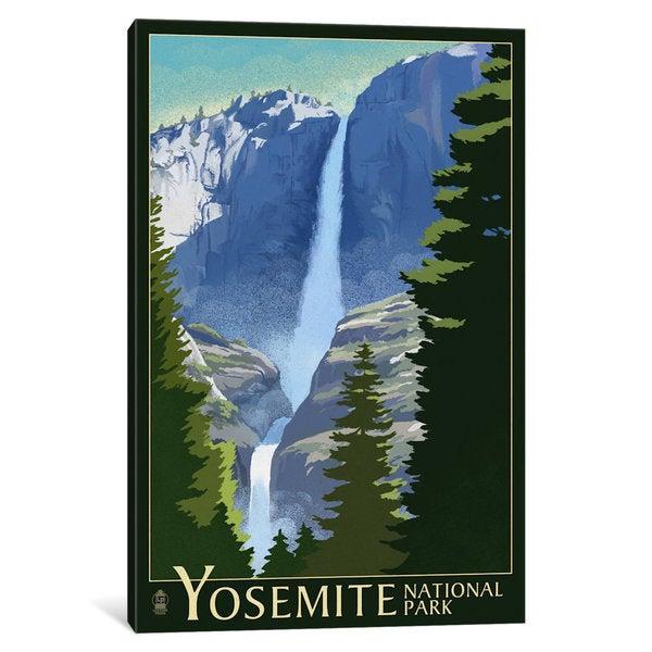 iCanvas 'U.S. National Park Service Series: Yosemite National Park (Yosemite Falls I)' by Lantern Press Canvas Print 25198403