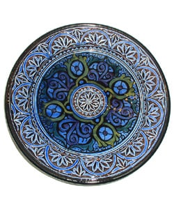 "11"" Engraved Ceramic Plate- Blue (Morocco)"