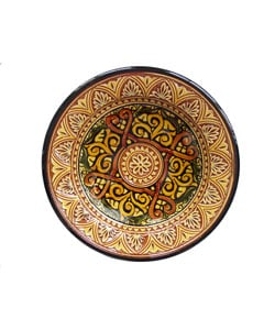 Engraved Marigold Ceramic Plate (Morocco)