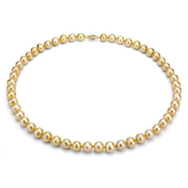 DaVonna 14k Gold Freshwater Golden Cultured Pearl Necklace (7-7.5 mm)