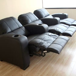Black Leather 3-seat Recliner Home Theater Seating | Overstock.com ...